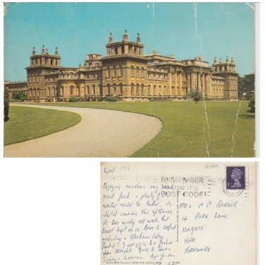Oxfordshire Postcard Blenheim Palace from the South West. Mauritron #190