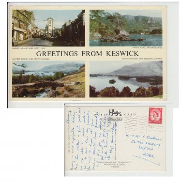 Cumbria Postcard Greetings from Keswick Multiview. Mauritron #199