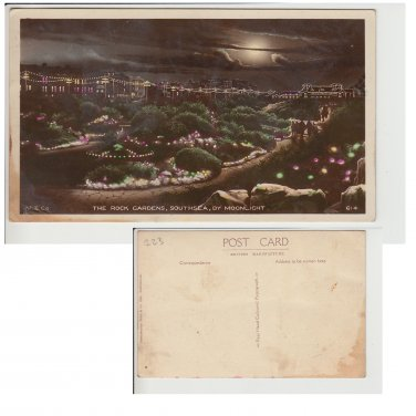 Hampshire   Postcard The Rock Gardens Southsea by Moonlight. Mauritron #227