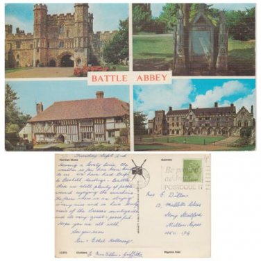 East Sussex Postcard Battle Abbey Multiview. Mauritron #305