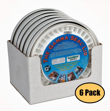 Gamma Seal White Screw On Lids 6 Pack Fits 3.5 5 7 Gallon Buckets Food Storage Container Airtight
