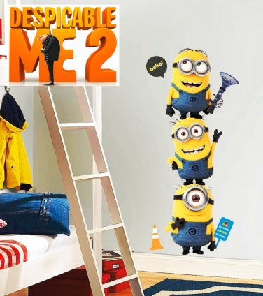 Dave Stuart Jerry Minions from Despicable Me 2 3D Movie Removable Wall Decal Set