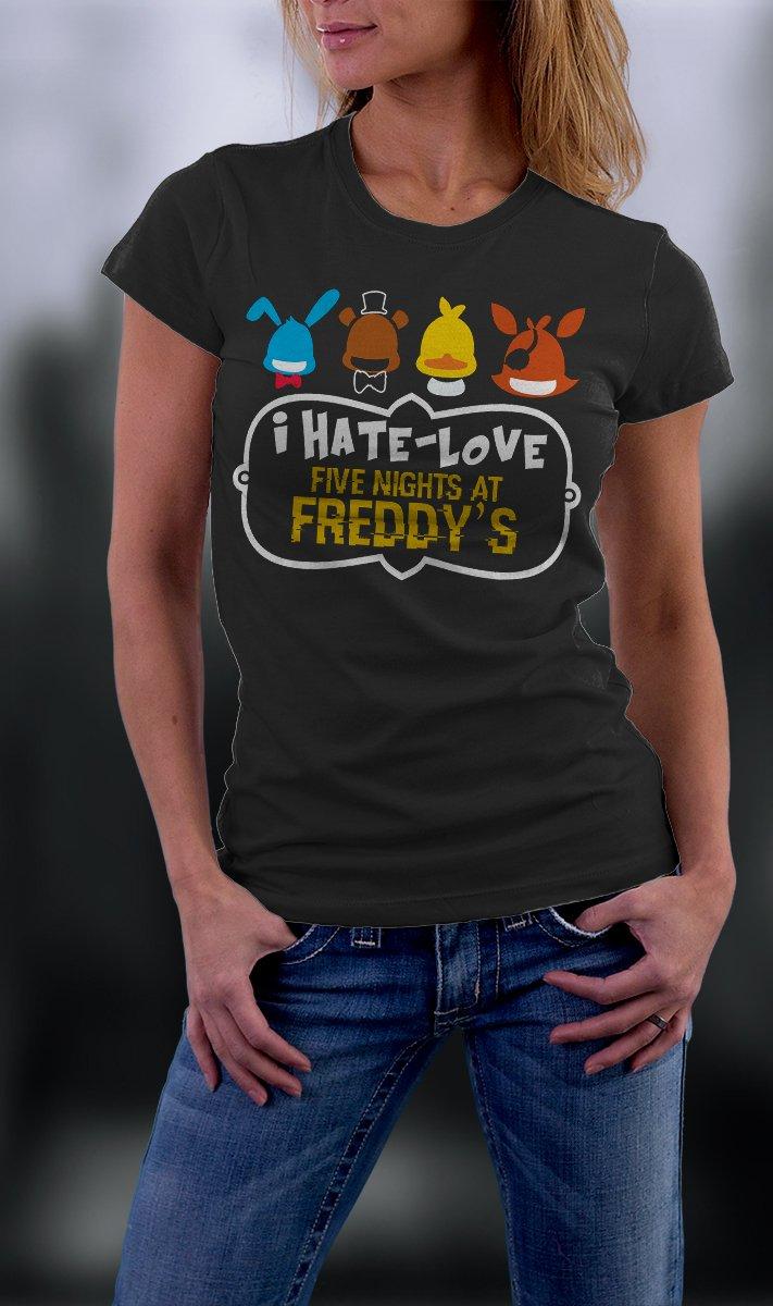 Friday Night At Freddy's, Faz Four, FNAF, I Hate Love Five Nights At Freddy's Shirt