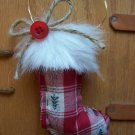 CHRISTMAS ORNAMENT RED & FUR CLOTH STOCKING
