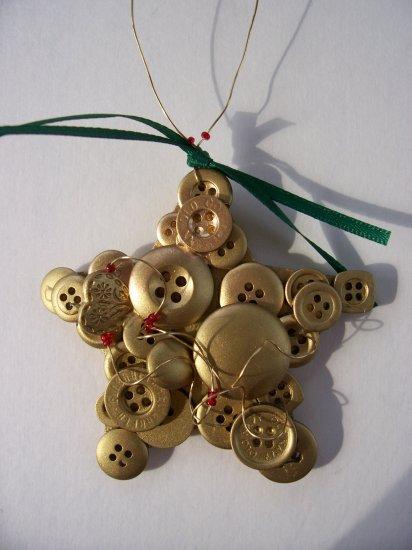 Button gold star ornament handmade wire hanger