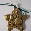 Button gold star ornament handmade wire hanger