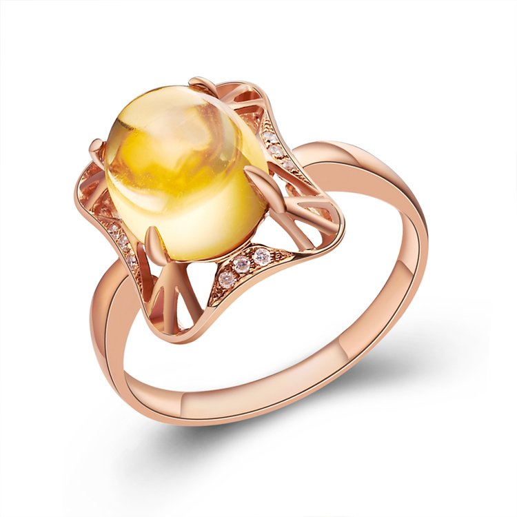 Natural 2.95ct Citrine rings and Surrounding with natural diamond 14K gold rings