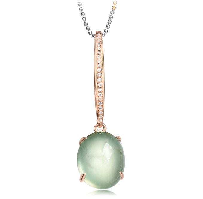 Natural 9.95ct Prehnite pendant and 18K rose gold surround with natural diamond pendant