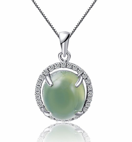 Natural 3.65ct Prehnite pendant and 18K white gold surround with natural diamond pendant