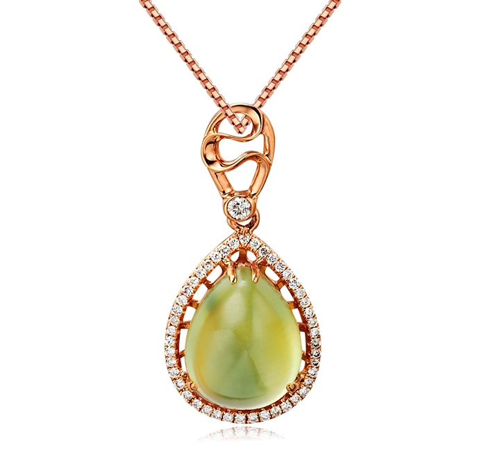 Natural 4.6ct Prehnite pendant and 18K rose gold surround with 48pcs natural diamond pendant