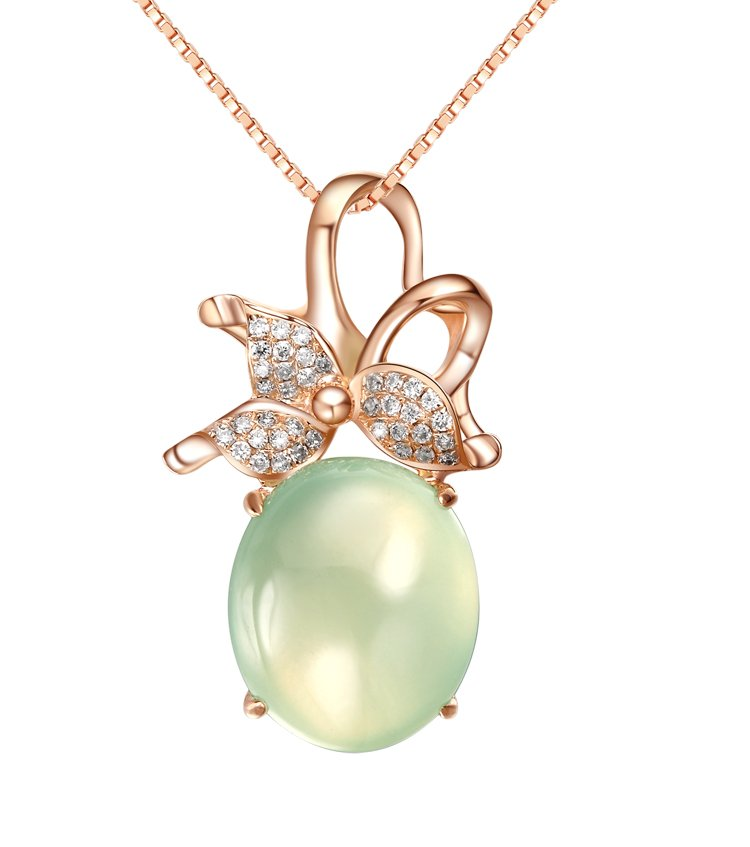 Natural 6.5ct Prehnite pendant and 18K rose gold surround with natural diamond pendant