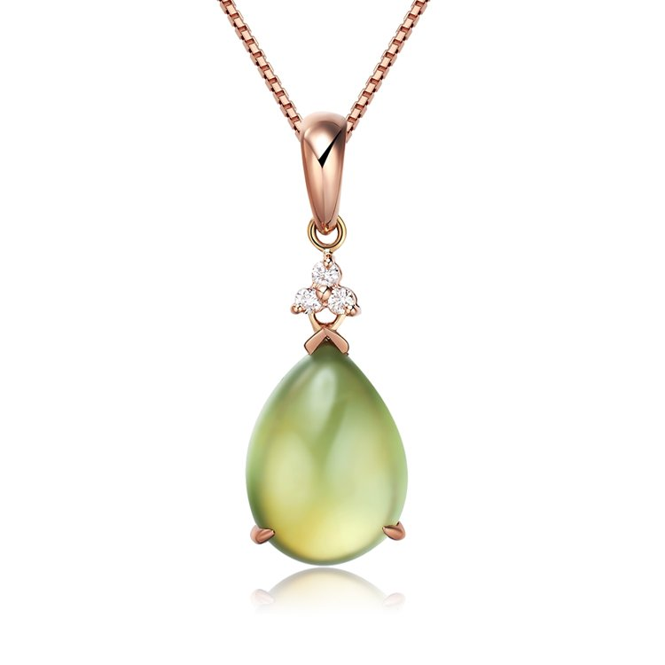 Natural 4.3ct Prehnite pendant and 14K rose gold with natural diamond pendant