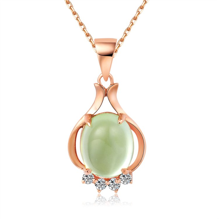 Natural 2.76ct Prehnite pendant and 18K rose gold with natural diamond pendant