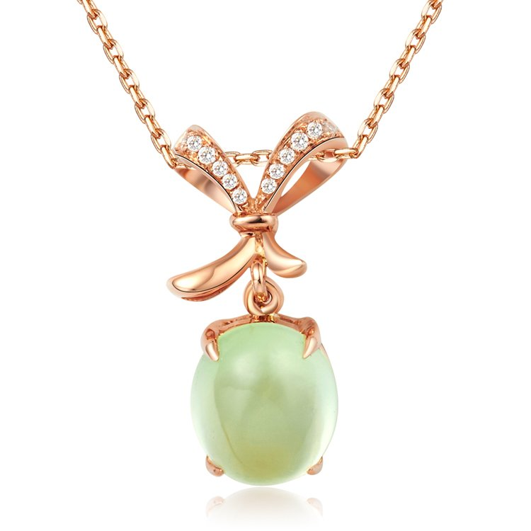 Natural 2.7ct Prehnite pendant and 18K rose gold with 12pcs natural diamond pendant