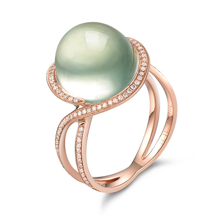 Natural 7.96ct Prehnite and Surrounding with natural diamond 18K gold rings