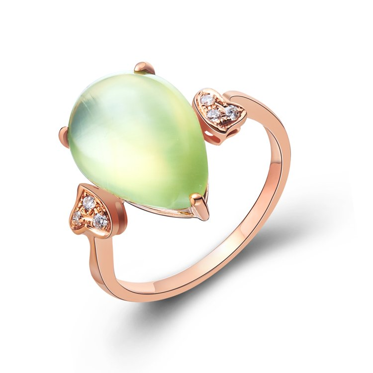 Natural 4.6ct Prehnite and adorning with natural diamond 14K gold rings