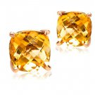 Natural 3.5ct for one Citrine stone with 14K rose gold stud earrings
