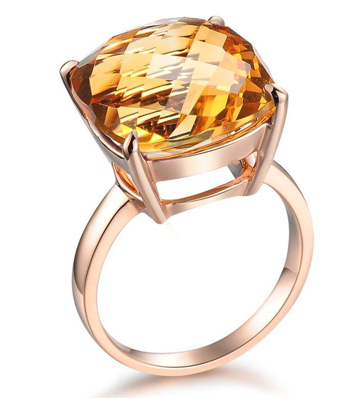 Natural 10.9ct huge Citrine rings 14X14mm 14K rose gold rings