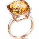 Natural 10.9ct huge Citrine rings 14X14mm 14K rose gold rings