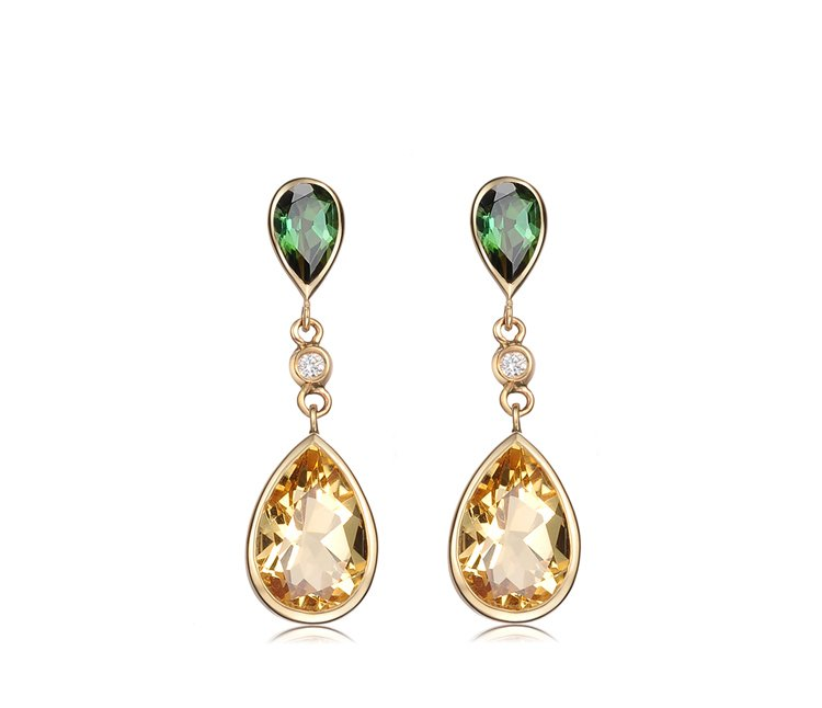 Natural Citrine stone and tourmaline with 14K yellow gold diamond drop earrings