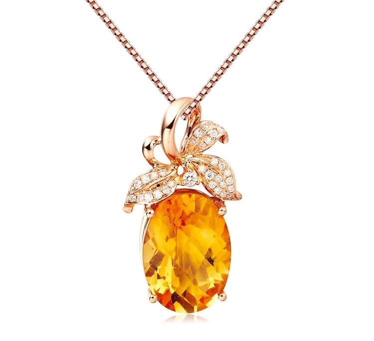 Natural 5.08ct Citrine 35pcs diamond with 18K rose gold pendant