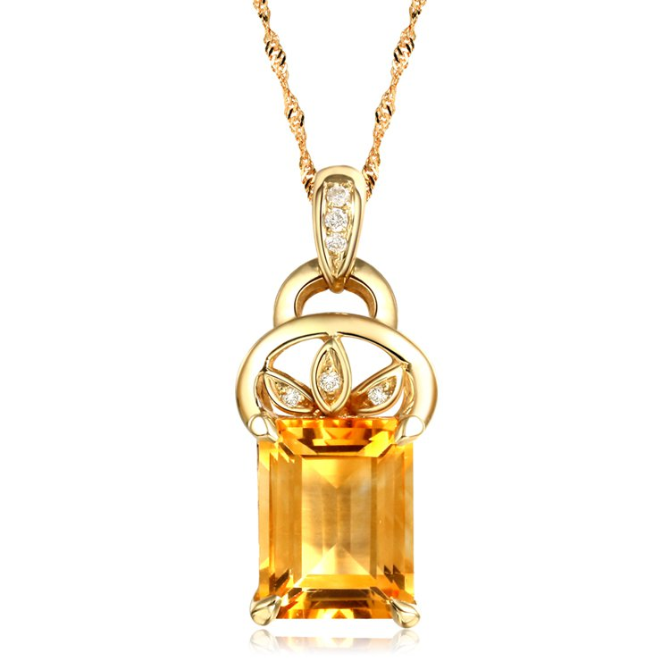 Natural 1.95ct Citrine 6pcs diamond with 14K yellow gold pendant