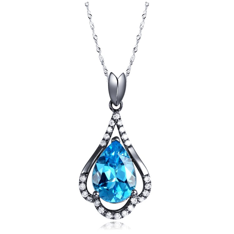 Natural 2.2ct Blue topaz and Surrounding with 24pcs natural diamond 18K black gold pendant