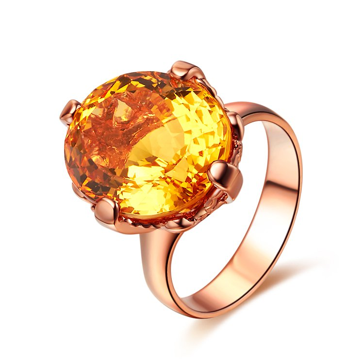 Natural 9.65ct huge Citrine 14K rose gold rings