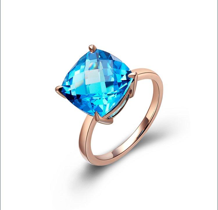 Natural 4.1ct Blue topaz 14K rose gold rings