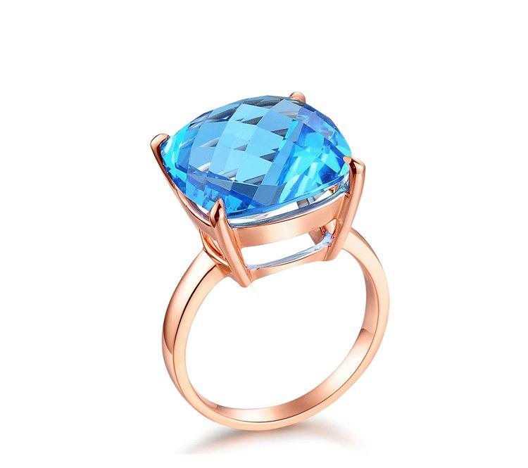 Natural 13.05ct huge 14mmX14mm Blue topaz 14K rose gold rings