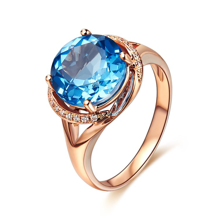 Natural 3.94ct Blue topaz and Surrounding with 18pcs natural diamond 14K rose gold rings