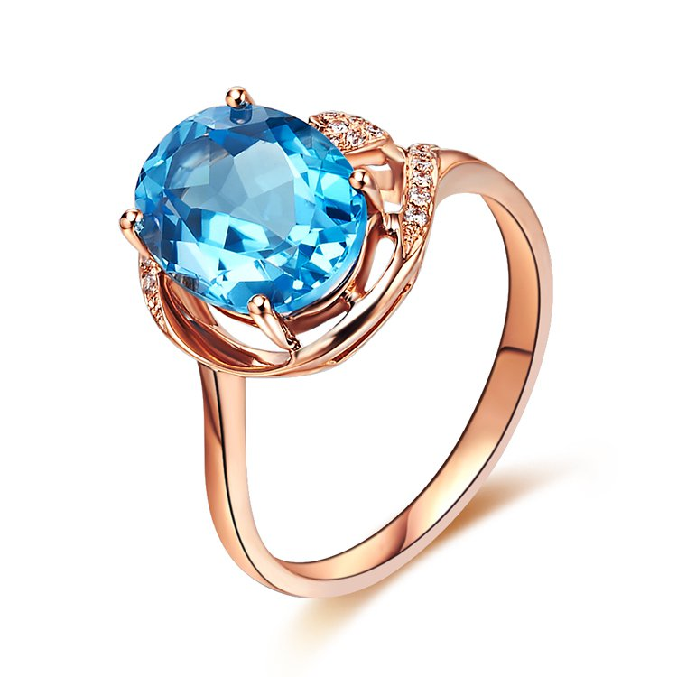 Natural 3.15ct Blue topaz and Surrounding with 20pcs natural diamond 14K rose gold rings