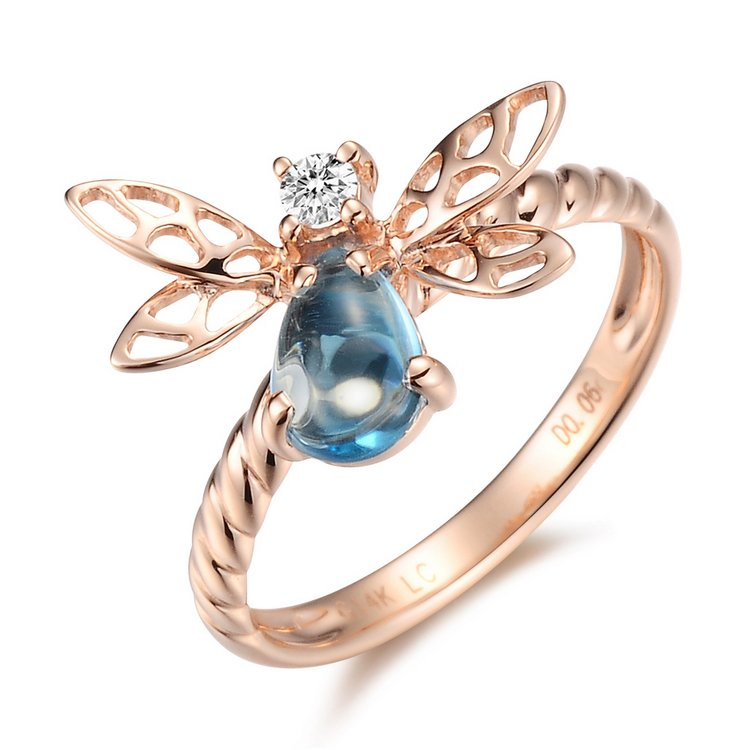 Natural 0.86ct Blue topaz with a natural diamond 14K rose gold rings