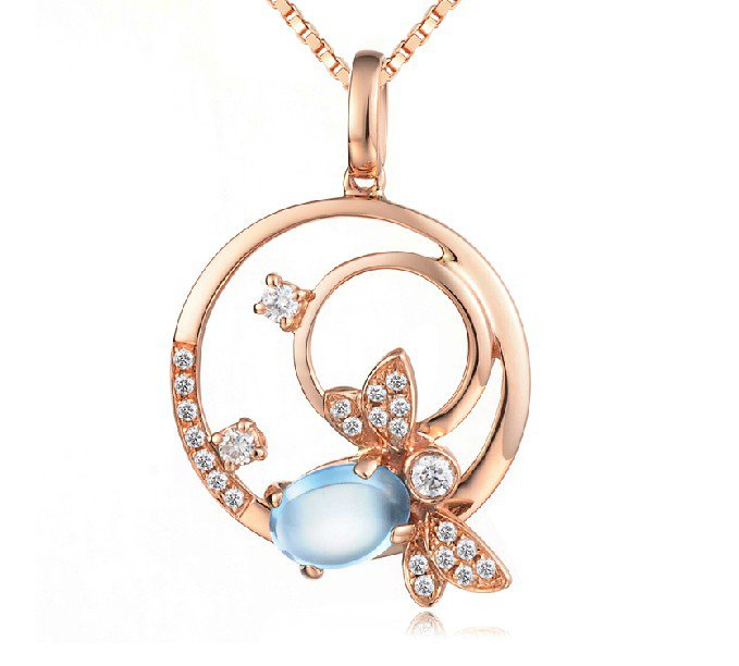 Natural 1.28ct blue topaz and Surrounding with 24pcs natural diamond 14K rose gold pendant