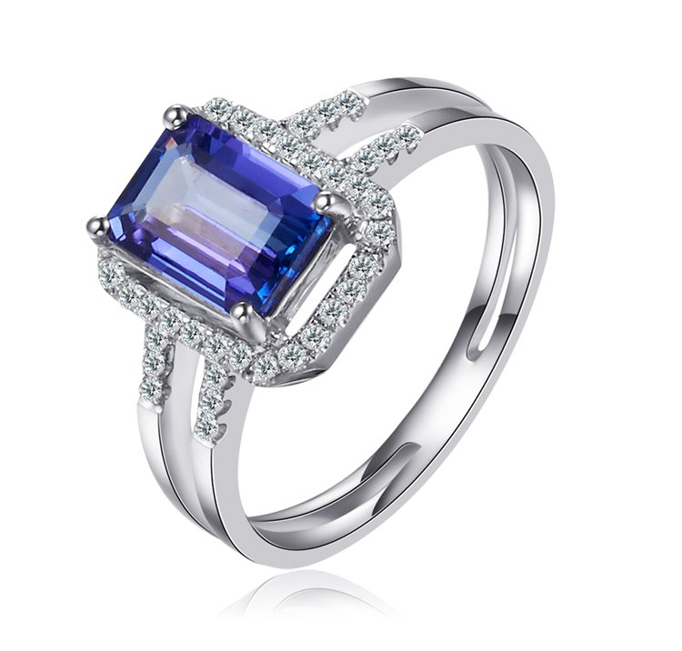 Natural 1.49ct tanzanite and Surrounding with 40pcs natural diamond 18K white gold rings