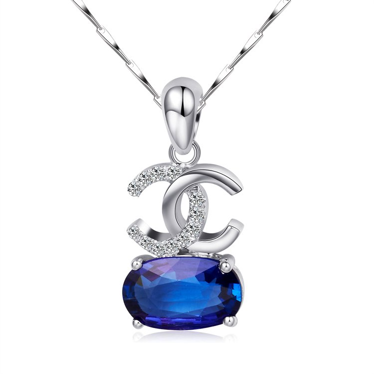 Natural 1.40ct tanzanite and Surrounding with 12pcs natural diamond 18K white gold pendant