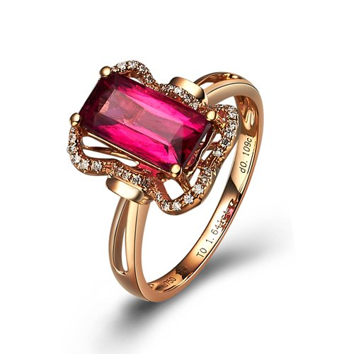 Natural 2.02ct red tourmaline and Surrounding with 41pcs natural diamond 18K rose gold rings
