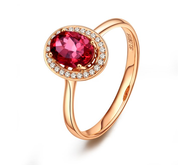 Natural 0.9ct red tourmaline and Surrounding with 26pcs natural diamond 18K rose gold rings