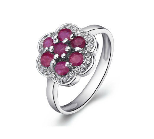 Natural ruby flower shape sterling silver ring(0.7ct)