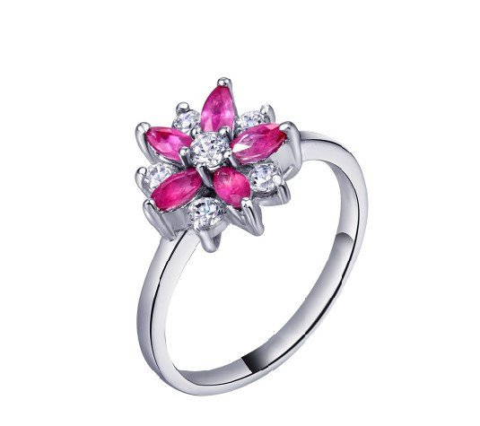 Natural ruby flower shape sterling silver ring(0.5ct)