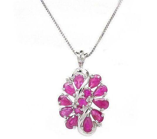 Natural ruby round cut heart shape pendant set in sterling silver