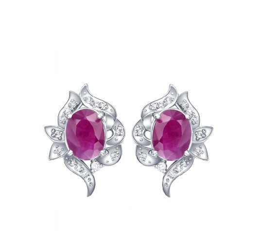 Natural ruby stud sterling silver earrings