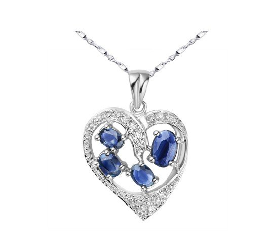 Natural sapphire heart shape sterling silver pendant