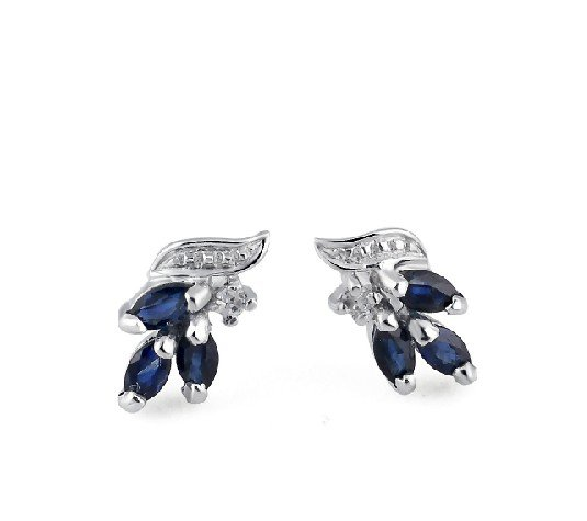 Natural sapphire stud sterling silver earrings