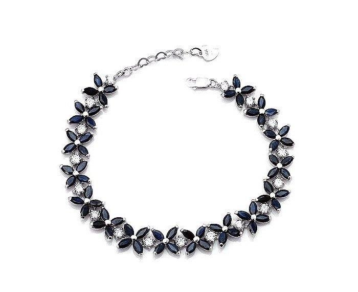 64pcs Natural Sapphire sterling silver bracelet