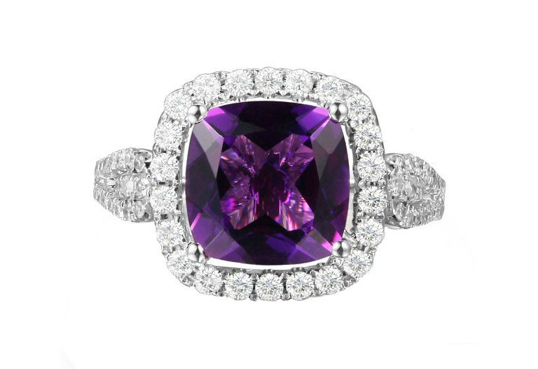 Natural 3.85ct Amethyst rings and surrounding with 0.45 ct South Africa diamond 14K white gold rings
