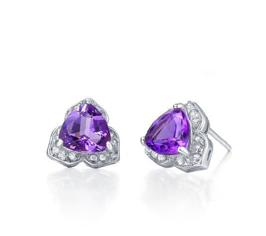 Natural amethyst triangle cut 2.4ct stud sterling silver earrings
