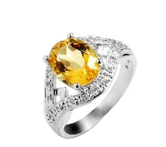 2.85ct Natural Citrine ring round cut 925 sterling silver ring