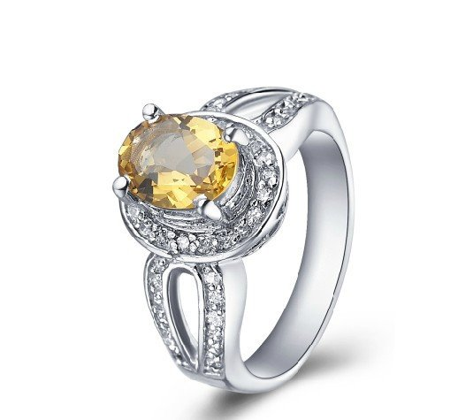 Fashion style 1.56ct Natural Citrine oval cut 925 sterling silver ring