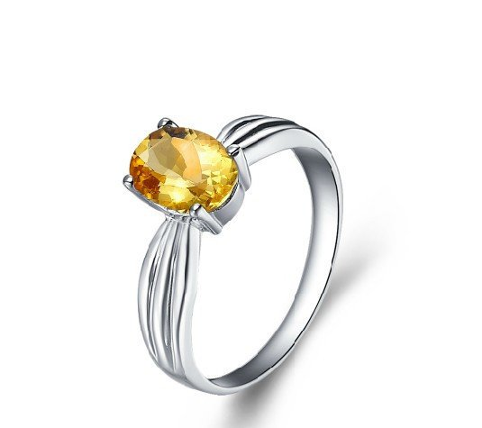 Natural 1.1 ct Citrine sterling silver rings
